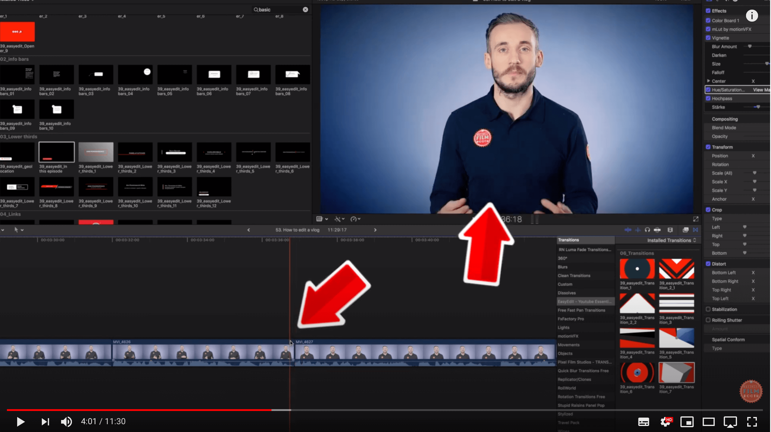 YouTube video editing timeline FCPX
