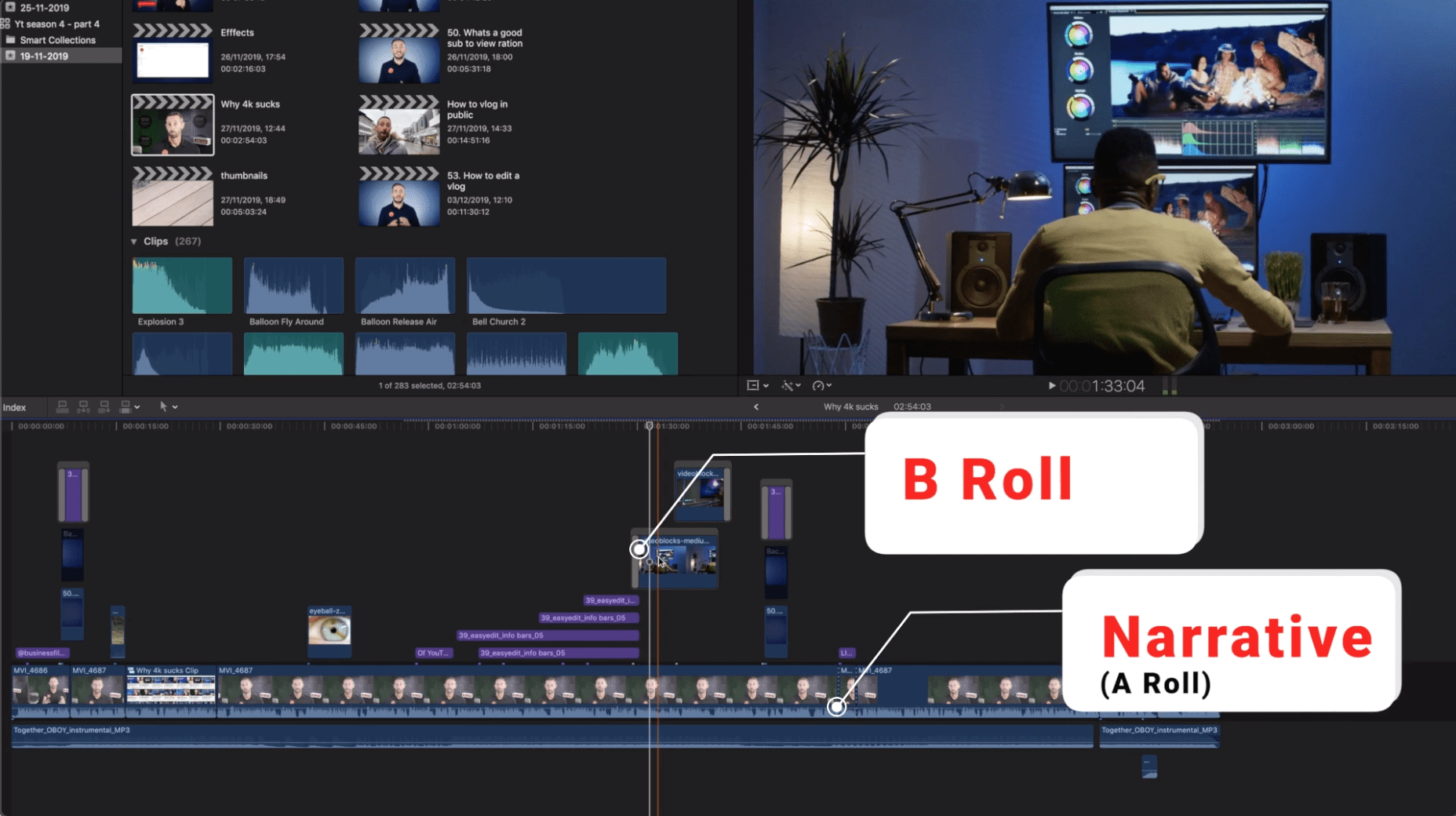 Adding b-roll to an edit